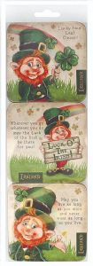 McMurfy Luck O' The Irish Leprechaun set of 6 Cork Backed Coasters  (sg)